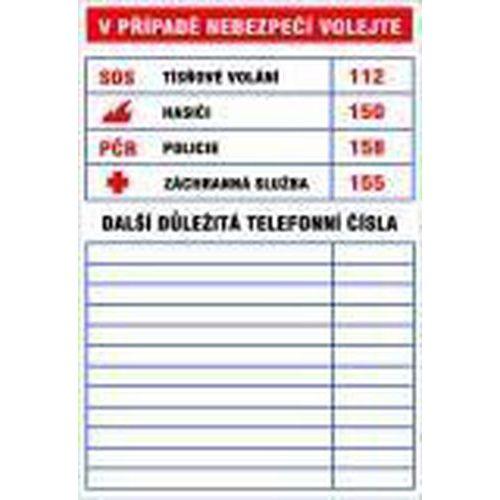Informační bezpečnostní tabulky - Důležitá telefonní čísla, plast