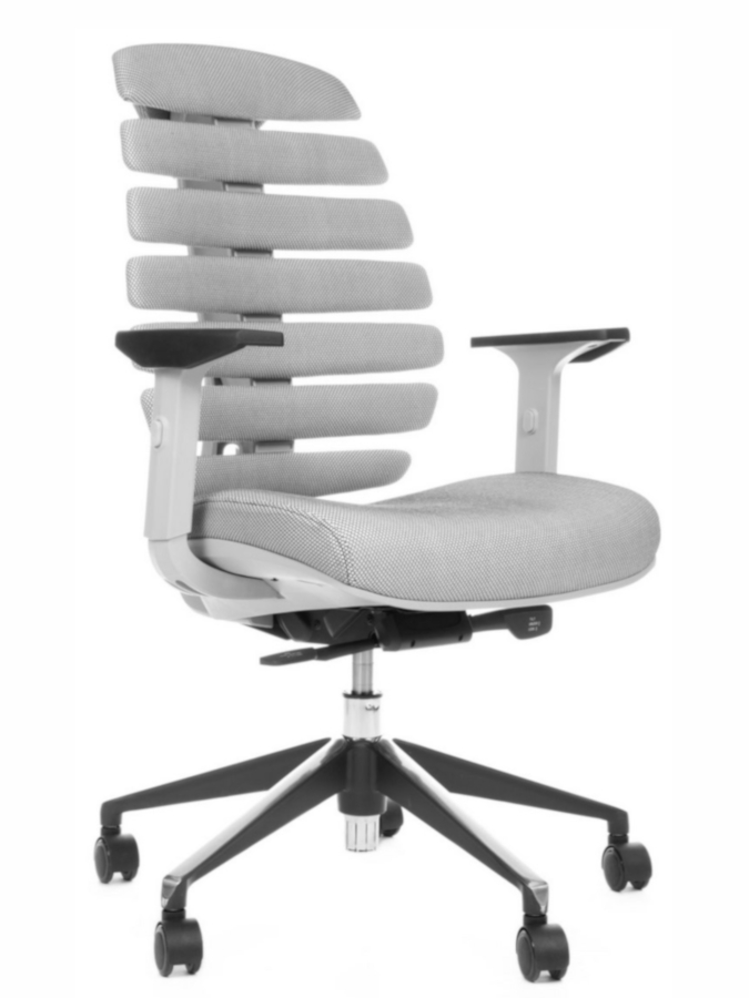 Kancelářské židle Node - Kancelářská židle FISH BONES šedý plast,šedá látka s černou mřížkou SH04