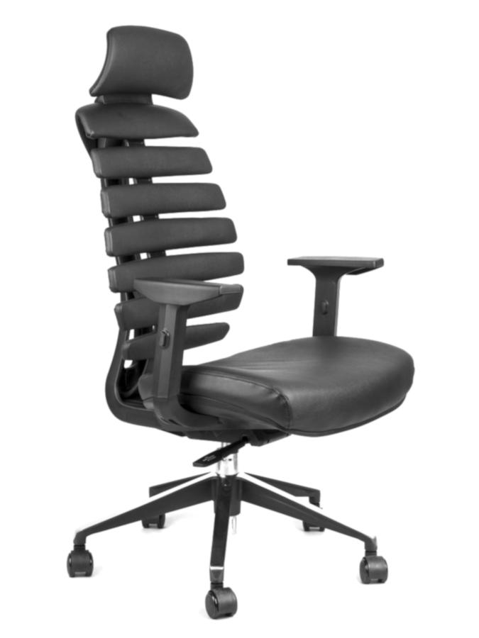 Kancelářské židle Node - Kancelářská židle FISH BONES PDH černý plast, černá koženka PU580165