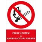 Zákazová bezpečnostní tabulka - Zákaz kouření a manipulace s plamenem, samolepicí fólie