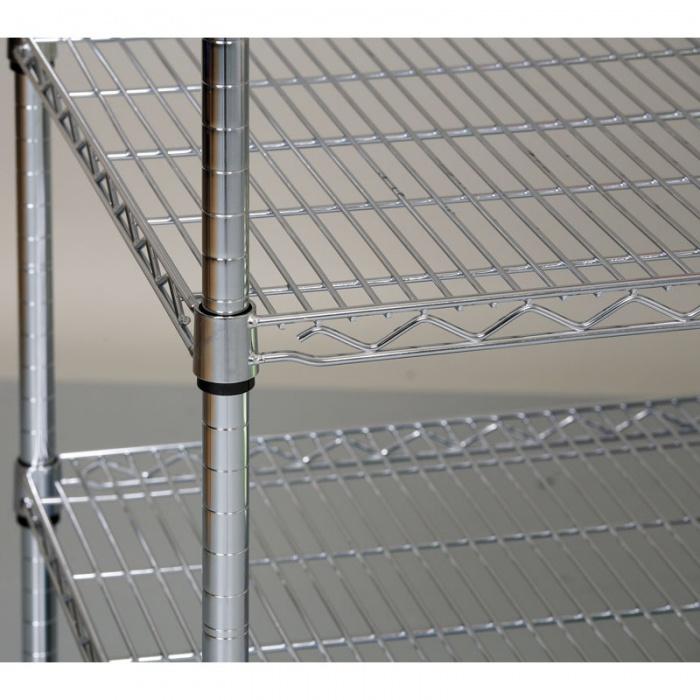 Chromovaný regál s drátěnými policemi, 900x900x350 mm