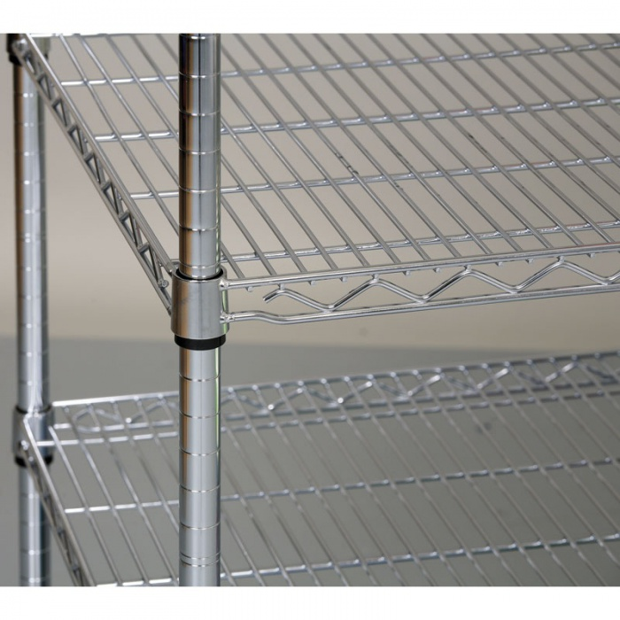 Chromovaný regál s drátěnými policemi, 900x900x450 mm