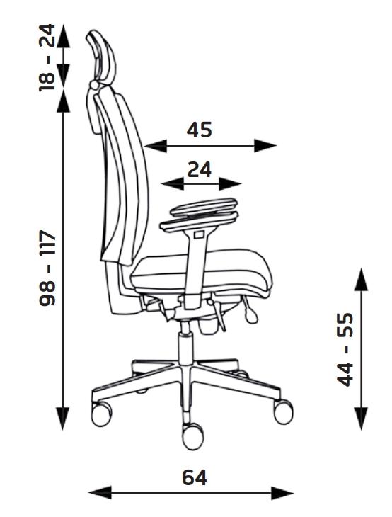 Kancelářské židle Alba - Kancelářská židle Lara VIP černá bez podhlavníku