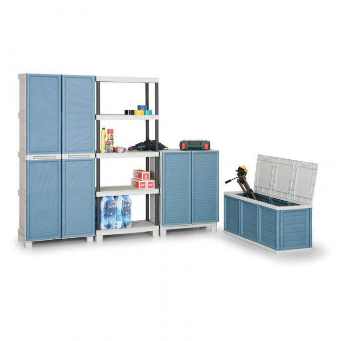 Plastová skříň policová, nízká, modré dveře