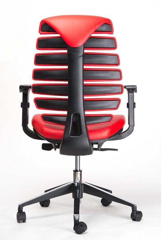 Kancelářská židle Node - Kancelářská židle FISH BONES černý plast, červená kůže