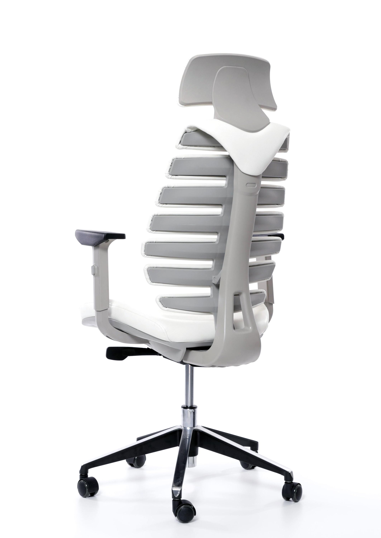 Kancelářská židle Node - Kancelářská židle FISH BONES PDH, šedý plast, bílá koženka