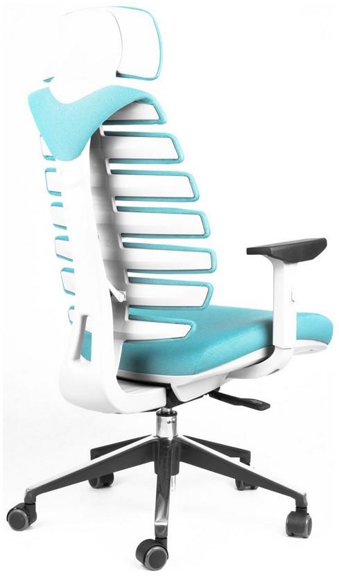 Kancelářská židle Node - Kancelářská židle FISH BONES PDH, šedý plast, tyrkysová látka 26-30