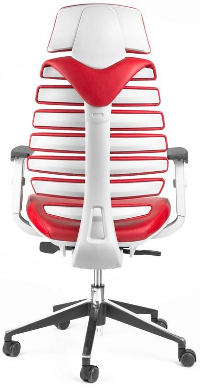 Kancelářská židle Node - Kancelářská židle FISH BONES PDH, šedý plast, červená kůže