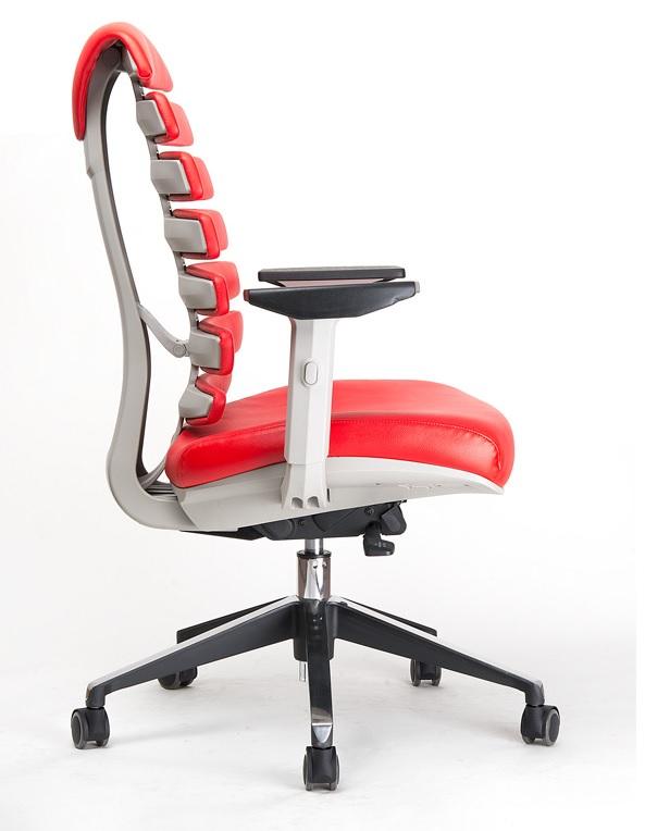 Kancelářská židle Node - Kancelářská židle FISH BONES šedý plast, červená kůže