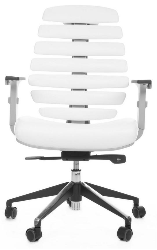Kancelářská židle Node - Kancelářská židle FISH BONES šedý plast, bílá koženka