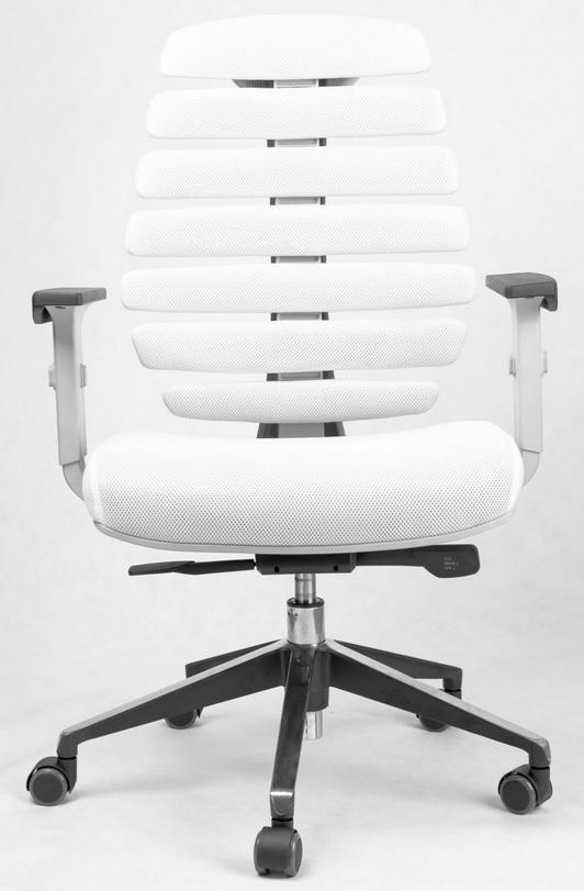 Kancelářská židle Node - Kancelářská židle FISH BONES šedý plast,bílá látka TW 50F MESH