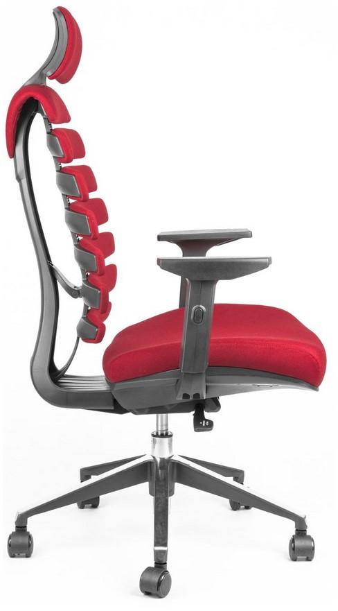 Kancelářská židle Node - Kancelářská židle FISH BONES PDH černý plast, červená látka 26-68