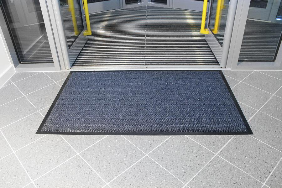 Modrá textilní čistící vnitřní vstupní rohož - 150 x 90 cm