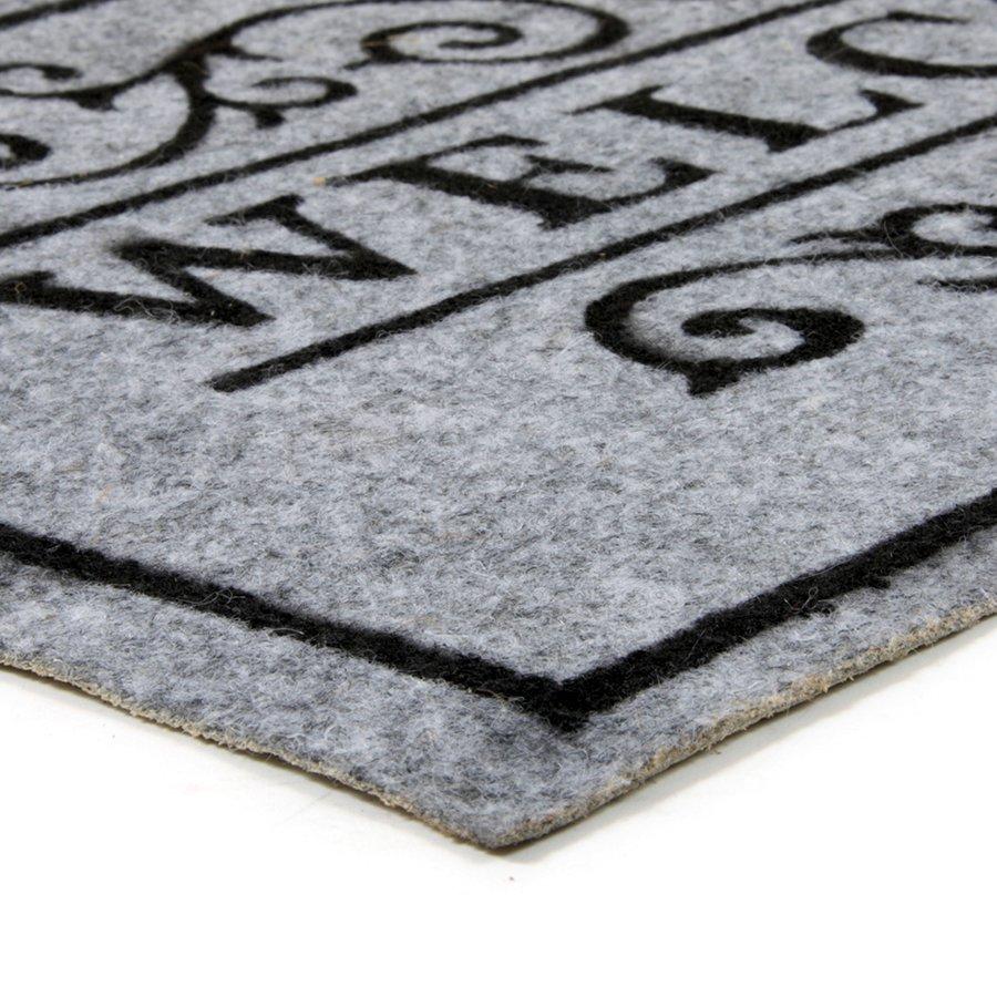 Šedá textilní čistící vnitřní vstupní rohož FLOMA Welcome - Deco - délka 33 cm, šířka 58 cm a výška 0,3 cm