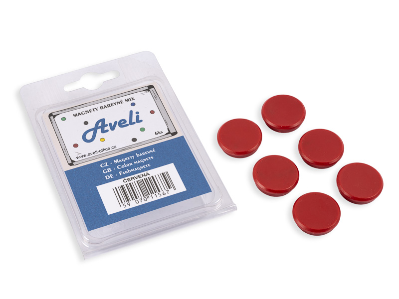 Set magnetů AVELI, červená barva