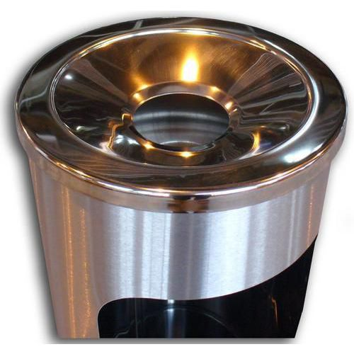 Kovový odpadkový koš s popelníkem, objem 11,5 l, lesklý nerez