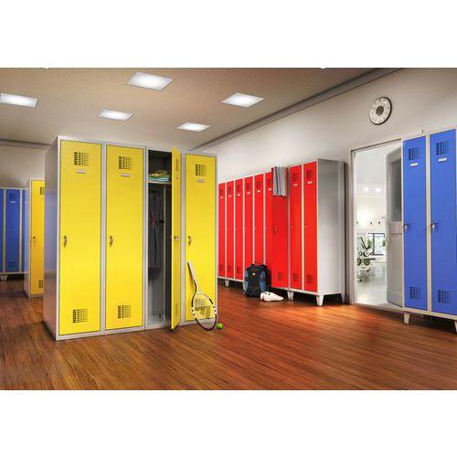 Svařovaná šatní skříň Drake odlehčená, 2 oddíly, šedá/modrá