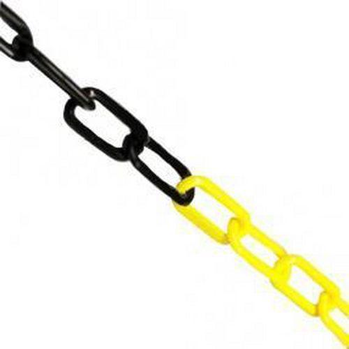 Plastový řetěz k zahrazovacím sloupkům, 5 m, černý/žlutý