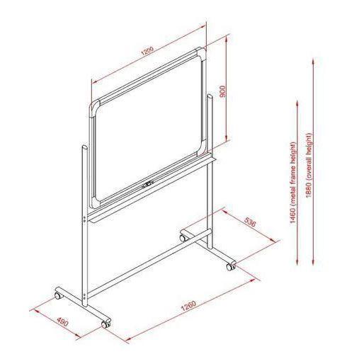 Mobilní bíl?? magnetická tabule Basic, oboustranná, 120 x 180 cm