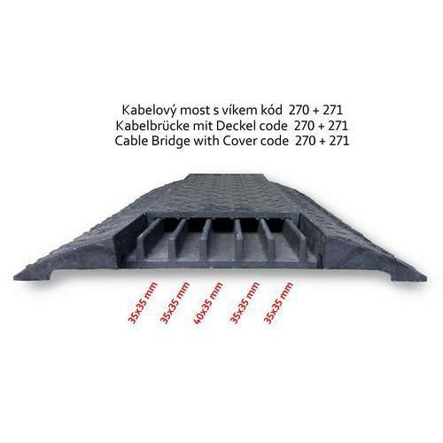 Kabelový most s krytem, rovný, černý