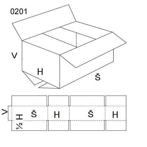Kartonová krabice, 100 x 200 x 150 mm