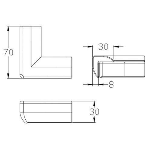 Hranatý rohový ochranný profil Manutan, délka 70 mm