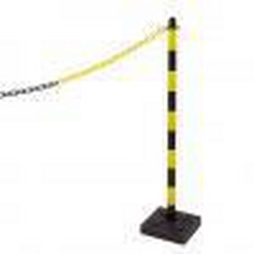 Plastový zahrazovací sloupek Mayleen se zatížením, výška 90 cm, černý/žlutý