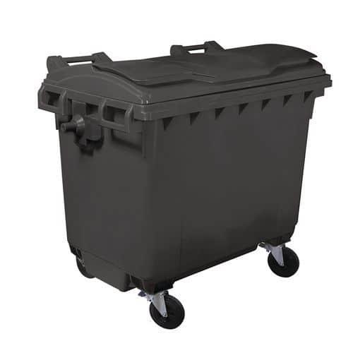 Plastová venkovní popelnice Manutan, objem 660 l, žlutá
