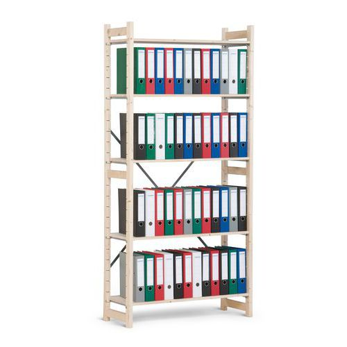 Dřevěné regály, základní, 209 x 97 x 30 cm, 5 polic, smrk