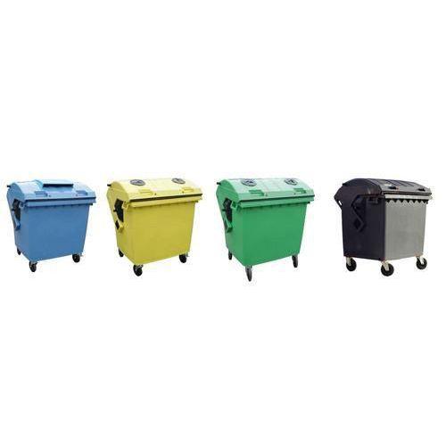 Plastová venkovní popelnice na tříděný odpad, objem 1 100 l, černá