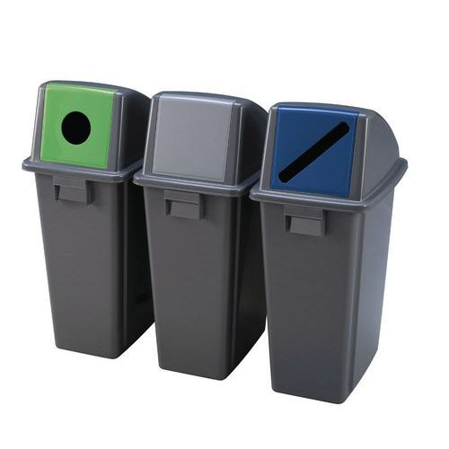 Plastový odpadkový koš Manutan na tříděný odpad, objem 60 l