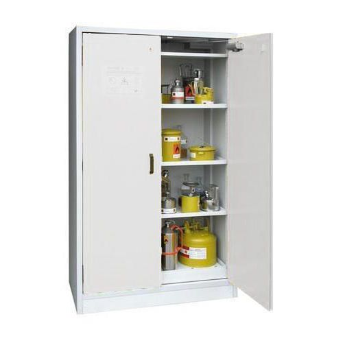 Žáruvzdorná skříň na nebezpečné látky, 595 x 595 x 1 960 mm, šedá/šedá
