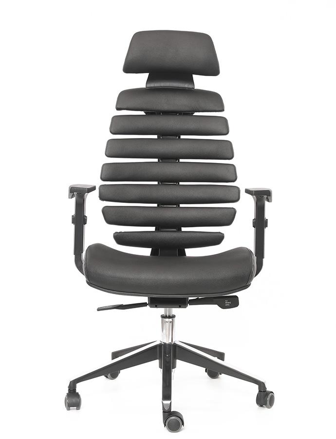 Kancelářské židle Node - Kancelářská židle FISH BONES PDH, černý plast, černá kůže