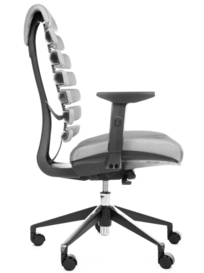 Kancelářské židle Node - Kancelářská židle FISH BONES černý plast, šedá látka s černou mřížkou SH04