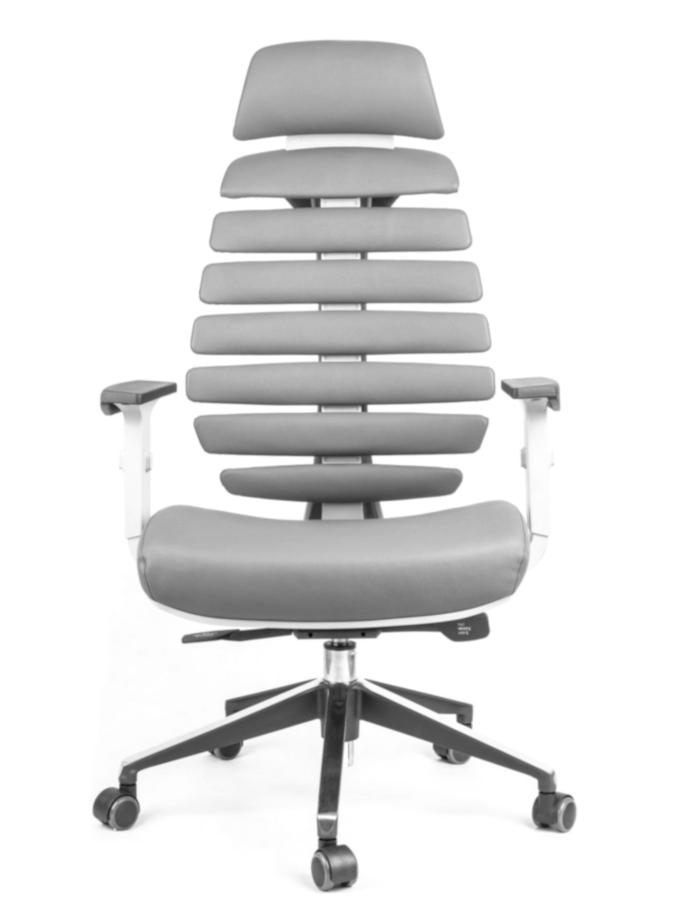Kancelářské židle Node - Kancelářská židle FISH BONES PDH šedý plast, šedá kůže