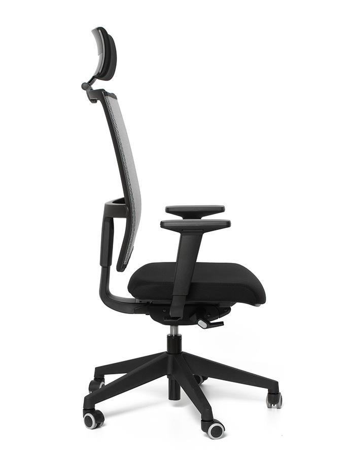 Kancelářská židle TAU černá H61/šedá G51 s podhlavníkem