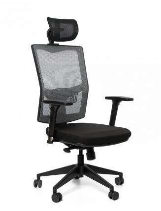 Kancelářské židle Emagra Kancelářská židle X5 černá E1/šedá G51/černá G52 4M F černý plast s podhlavníkem
